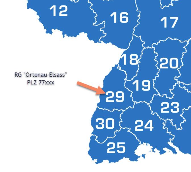 Gebietskarte Regionalgruppe 29 Ortenau-Elsass für Homepage
